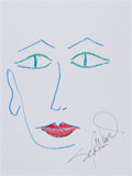 Movie/TV Memorabilia:Original Art, Sela Ward: Actor's Doodle For Hunger. Benefitting St.Francis Food Pantries and Shelters . ...