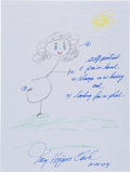 Movie/TV Memorabilia:Original Art, Mary Higgins Clark: Author's Doodle For Hunger. Benefitting St. Francis Food Pantries and Shelters. ...