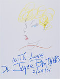Movie/TV Memorabilia:Original Art, Dr. Joyce Brothers: Psychologist and Advice Columnist's DoodleFor Hunger. Benefitting St. Francis Food Pantries ...