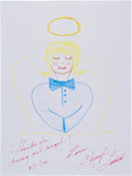 Movie/TV Memorabilia:Original Art, Cheryl Ladd: Actor's Doodle For Hunger. Benefitting St.Francis Food Pantries and Shelters . ...