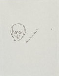 Movie/TV Memorabilia:Original Art, Bob Newhart: Actor's Doodle For Hunger. Benefitting St.Francis Food Pantries and Shelters . ...