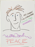 Movie/TV Memorabilia:Original Art, Matthew Modine: Actor's Doodle For Hunger. Benefitting St.Francis Food Pantries and Shelters . ...
