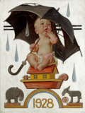 Mainstream Illustration, JOSEPH CHRISTIAN LEYENDECKER (American, 1874-1951). New Year'sBaby, Beginning to Rain, The Saturday Evening Post cover,...