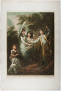 Books:Prints & Leaves, Signed Mezzotint Print of Children Playing. Ca. 1920. Approx. 30 x20 inches. Very good....