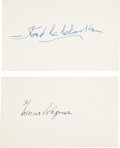 Autographs:Index Cards, 1950's Honus Wagner & Fred Clarke Signed Index Cards....
