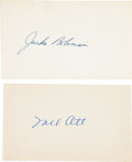 Autographs:Index Cards, 1950's Mel Ott & Jackie Robinson Signed Index Cards....