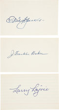 Autographs:Index Cards, Circa 1940 Frank Baker, Tris Speaker, Larry Lajoie Signed IndexCards....