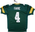 Football Collectibles:Uniforms, Brett Favre Signed and Stat Inscribed Green Bay Packers Jersey....