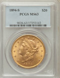 Liberty Double Eagles: , 1894-S $20 MS63 PCGS. PCGS Population (698/142). NGC Census:(527/89). Mintage: 1,048,550. Numismedia Wsl. Price for proble...