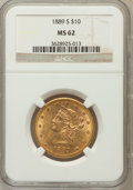 Liberty Eagles: , 1889-S $10 MS62 NGC. NGC Census: (416/107). PCGS Population(379/248). Mintage: 425,400. Numismedia Wsl. Price for problem ...