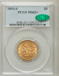 Liberty Half Eagles: , 1893-S $5 MS62+ PCGS. CAC. PCGS Population (174/126). NGC Census:(344/175). Mintage: 224,000. Numismedia Wsl. Price for pr...