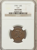 Half Cents, 1793 1/2 C AU53 NGC. C-4. NGC Census: (9/35). PCGS Population(32/1392). Mintage: 35,334. Numismedia Wsl. Price for problem...