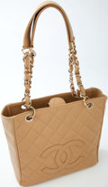 Luxury Accessories:Bags, Heritage Vintage: Chanel Beige Quilted Caviar Leather Tote. ...