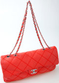 Luxury Accessories:Bags, Heritage Vintage: Chanel Red Quilted Handbag with Silver ChainStrap . ...