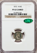 Proof Seated Half Dimes: , 1872 H10C PR62 Cameo NGC. CAC. NGC Census: (1/27). PCGS Population(2/20). (#84455)...