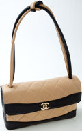 Luxury Accessories:Bags, Heritage Vintage: Chanel Black and Beige Quilted Lambskin LeatherShoulder Bag. ...