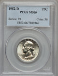 Washington Quarters: , 1952-D 25C MS66 PCGS. PCGS Population (245/8). NGC Census:(359/30). Mintage: 49,795,200. Numismedia Wsl. Price for problem...