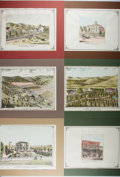 Books:Prints & Leaves, Group of Six Hand-Colored Reproduction Prints of California.Approx. 11 x 14 inches. Mounted to boards and matted. Very good...(Total: 6 Items)
