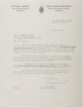 Autographs:Authors, W. Kaye Lamb (1904-1999, Canadian Archivist, Librarian, Historian).Typed Letter Signed....