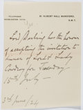 Autographs:Non-American, Charles Darling (1849-1936, English Lawyer and Politician).Autograph Letter....
