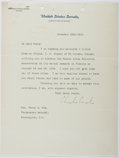 Autographs:Statesmen, Charles Curtis (1860-1936, American Politician). Typed LetterSigned....