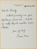Autographs:Authors, Thomas Beer (1889-1940, American Author). Autograph Letter Signed....
