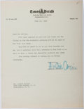 Autographs:Authors, Augustine Cassini (1920-1991, American Columnist). Typed Letter Signed....