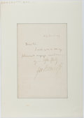 Autographs:Statesmen, George Bancroft (1800-1891, American Historian and Diplomat).Autograph Letter Signed....