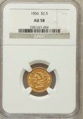 Liberty Quarter Eagles: , 1856 $2 1/2 AU58 NGC. NGC Census: (175/327). PCGS Population(61/155). Mintage: 384,240. Numismedia Wsl. Price for problem ...