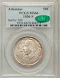 Commemorative Silver: , 1936-S 50C Arkansas MS66 PCGS. CAC. PCGS Population (122/10). NGCCensus: (71/8). Mintage: 9,662. Numismedia Wsl. Price for...