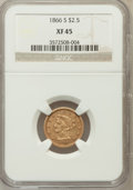 Liberty Quarter Eagles: , 1866-S $2 1/2 XF45 NGC. NGC Census: (42/92). PCGS Population(31/38). Mintage: 38,900. Numismedia Wsl. Price for problem fr...