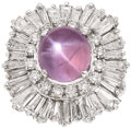 Estate Jewelry:Rings, Pink Star Sapphire, Diamond, Platinum, Ring-Dant. ...