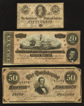 Confederate Notes:1864 Issues, T66 $50 1864 PF-12 Cr. 501;. T67 $20 1864 PF-14 Cr. 514;. T72 50¢ 1864 PF-1 Cr. 578.. ... (Total: 3 notes)