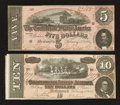 Confederate Notes:1864 Issues, T68 $10 1864;. T69 $5 1864.. ... (Total: 2 notes)