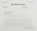 Autographs:Authors, Everett S. Allen (1916-1990, American Writer). Typed Letter Signed.Envelope included. Very good....