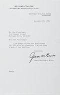 Autographs:Authors, James MacGregor Burns (1918- , American Historian and Biographer). Typed Letter Signed. Includes envelope. Fine....