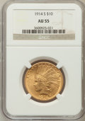 Indian Eagles: , 1914-S $10 AU55 NGC. NGC Census: (117/727). PCGS Population(83/591). Mintage: 208,000. Numismedia Wsl. Price for problem f...