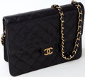 Luxury Accessories:Bags, Heritage Vintage: Chanel Black Lambskin Leather Quilted ShoulderBag. ...