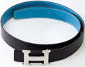 Luxury Accessories:Accessories, Heritage Vintage: Hermes Hammered Silver H Belt with Black/BlueJean Strap. ...