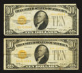 Small Size:Gold Certificates, Fr. 2400 $10 1928 Gold Certificates. Two Examples. Fine-Very Fine.. ... (Total: 2 notes)