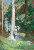 Fine Art - Painting, American:Modern  (1900 1949)  , DINES CARLSEN (American, 1901-1966). Sunlight Among thePines, 1929. Oil on canvas. 50 x 36 inches (127 x 91.4 cm).Sign...