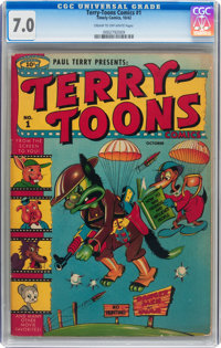 Terry-Toons Comics #1 (Timely, 1942) CGC FN/VF 7.0 Cream to off-white pages