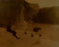 EDWARD SHERIFF CURTIS (American, 1868-1952) At the Old Well of Acoma, 1904 Orotone 14 x 11 inches