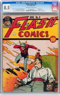 Golden Age (1938-1955):Superhero, Flash Comics #8 (DC, 1940) CGC VF+ 8.5 Off-white to white pages....