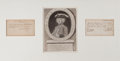 Prints, CHARLES RATCLIFFE . 18th century. Etching with two autographmanuscript legal documents. 10 x 8 inches (25.4 x 20.3 cm)...