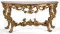 Decorative Arts, Continental:Other , A CONTINENTAL GILT WOOD AND MARBLE CONSOLE TABLE . 20th century .35-7/8 inches high x 71 inches wide x 25-1/2 inches deep (...(Total: 2 Items)