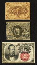 Fractional Currency:First Issue, Fr. 1230 5¢ First Issue Fine;. Fr. 1233 5¢ Second Issue Very Fine;. Fr. 1266 10¢ Fifth Issue Extremely Fine.. ... (Total: 3 notes)