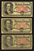 Fractional Currency:Fifth Issue, Three Fr. 1380 50¢ Fifth Issue Notes Very Good or Better.. ...(Total: 3 notes)