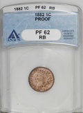Proof Indian Cents: , 1882 1C PR62 Red and Brown ANACS. NGC Census: (0/157). PCGS Population (4/210). Mintage: 3,100. (#2334)...