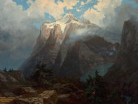 ALBERT BIERSTADT (American, 1830-1902) Mount Brewer from King's River Canyon, California, 1872 Oil o